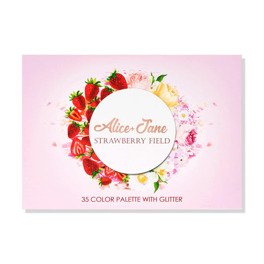 Alice+Jane 35 Color High Pigment Eyeshadow Palette with Glitter and Cream Strawberry Field