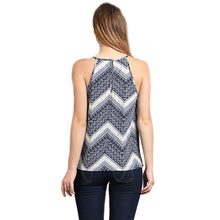 New Women's Crepe Print Round Spaghetti Sleeveless Back Key Hole Button Trim Top - ellemore.com