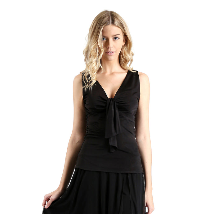 Evanese Women's Ice Tropical Sleeveless Center Tie Deep V-neck Cami Blouse Top XS, Black