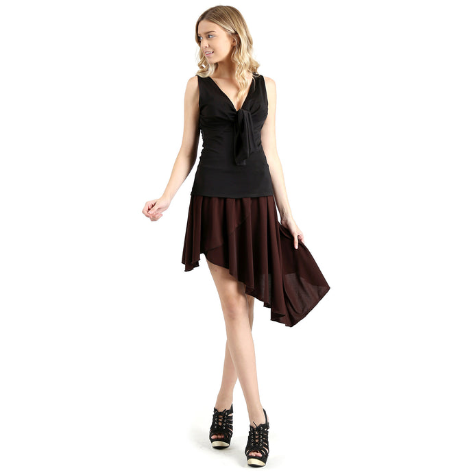 Evanese Women's Casual Asymmetrical Hi Low Contemporary Cocktail Turn Skirt XS, Brown
