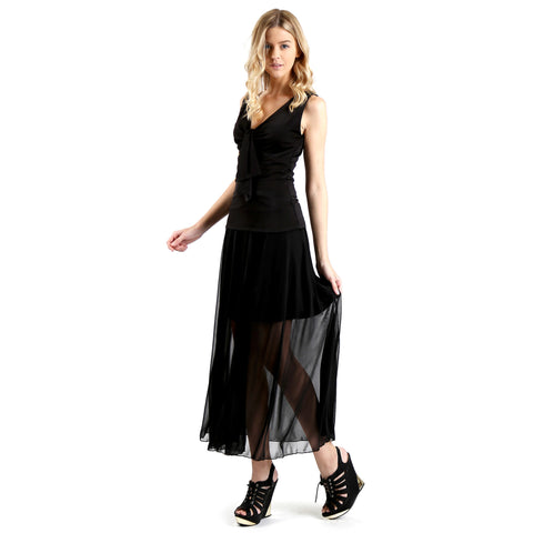 Evanese Women's Double Layered See Through Top Layer with Center Slit Long Skirt XS, Black