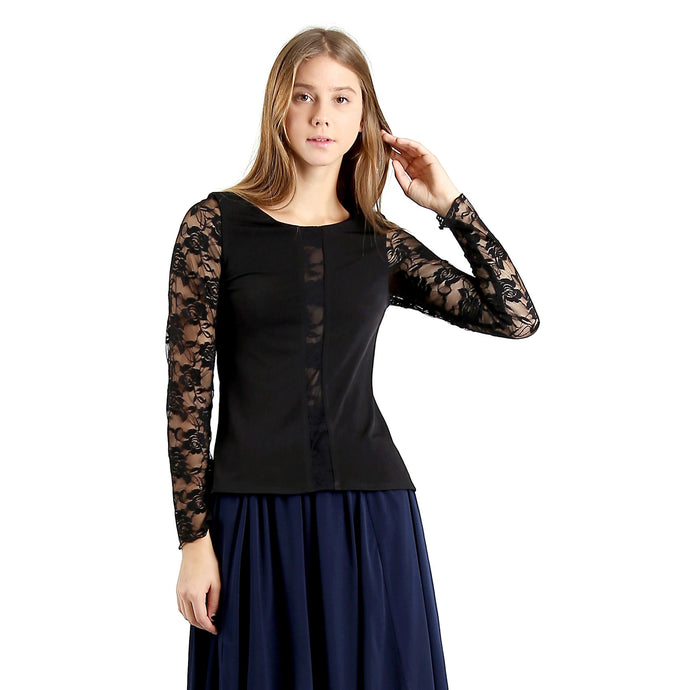Evanese Women's Blouse Top with Long Lace Sleeves and Semi See Through Center XS, Black