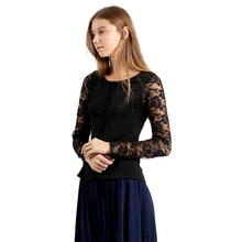 Evanese Women's Blouse Top with Long Lace Sleeves and Semi See Through Center L, Black