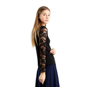Evanese Women's Blouse Top with Long Lace Sleeves and Semi See Through Center XL, Black