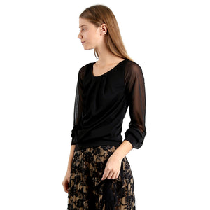 Evanese Women's Blouse Top with Pleated Neck, See-through Pull Up Long Sleeves XS, Black