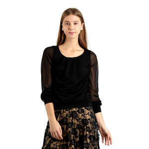 Evanese Women's Blouse Top with Pleated Neck, See-through Pull Up Long Sleeves L, Black