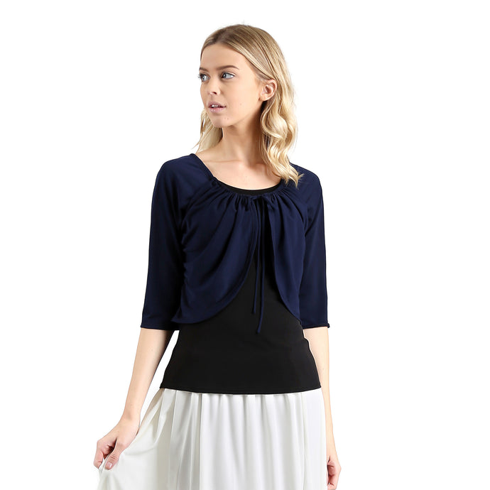 Evanese Women's Casual Raglan 3/4 Sleeve Faux Shrug with Front Pull Strings Top XS, Navy