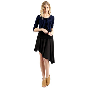 Evanese Women's Ice Tropical Asymmetrical Hi Lo Contemporary Cocktail Turn Skirt S, Black