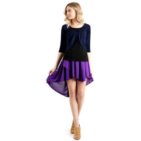 Evanese Women's Ice Tropical Asymmetrical Hi Lo Contemporary Cocktail Turn Skirt XS, Purple