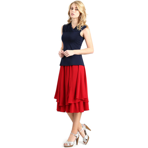 Evanese Women's Double Layer Contemporary A-line Godet Skirt with Elastic Waist XS, Red