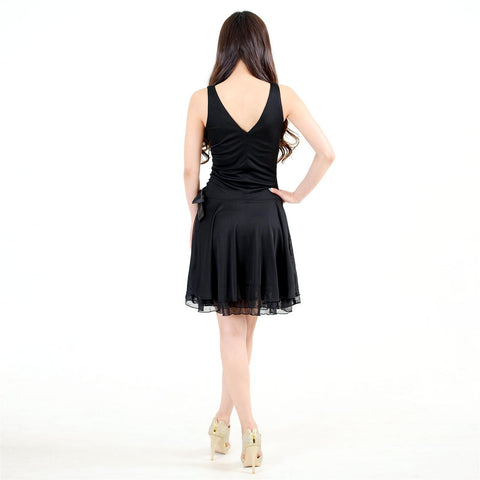 Evanese Women's Chiffon Matte Jersey Triple Layered Mini Short Cocktail Dress - ellemore.com