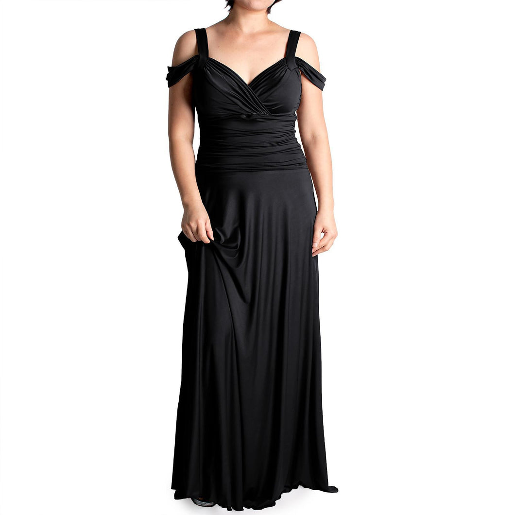 Evanese Women's Plus Size Shiny Venezian Elegant Long Dress - ellemore.com