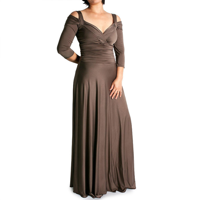 Evanese Women's Plus Size Shiny Venezian Elegant Long Dress with 3/4 Sleeves - ellemore.com