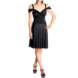 Evanese Women's Plus Size Shiny Venezia Short Dress with Shoulder Bands - ellemore.com