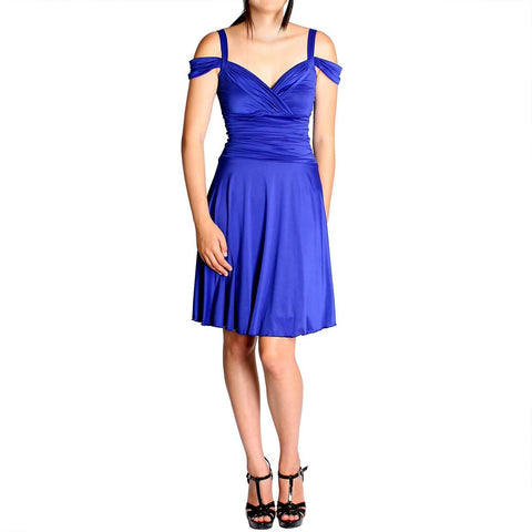 Evanese Women's Shiny Venezia Slip On Short Dress with Shoulder Bands - ellemore.com