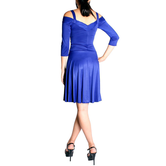 Evanese Women's Shiny Venezia Slip On Short Elegant Dress with 3/4 Sleeves - ellemore.com