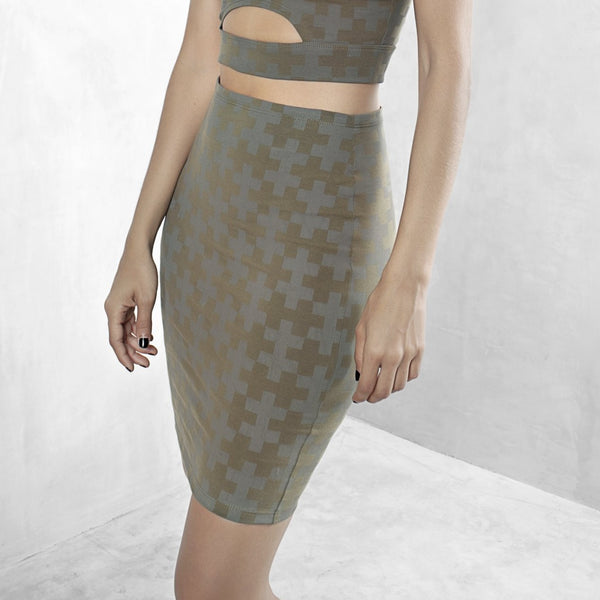 Printed Pencil Skirt Organic Cotton Lycra