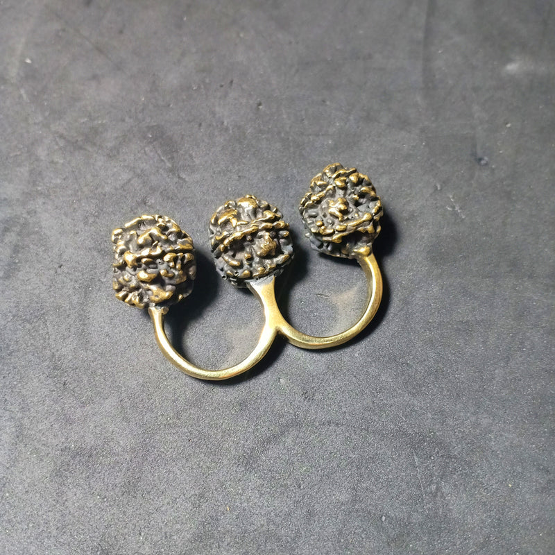 Rudra 3 Finger Ring Large Brass