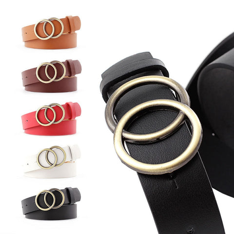 2019 New Vintage Double Round Buckle Belt 2019 Fashion Leather Waist Belt  for Women Female Harajuku Black Red Solid Color Belt