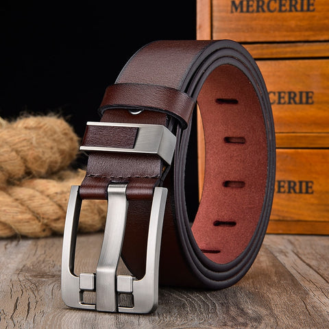 [LFMB]Men's belt leather belt men  pin buckle cow genuine leather belts for men 130cm high quality mens belt cinturones hombre