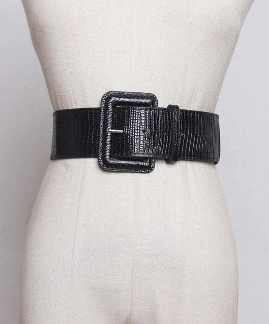 [EAM]  Pu Leather Big Square Buckle Hole Wide Belt Personality Women New Fashion Tide All-match Autumn Winter 2020 1A252