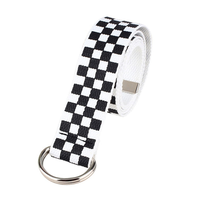 2019 Fashion Punk Checkered Belt Waistband Long Black and White Plaid Checkerboard Couple Checkered Canvas Women New Belts