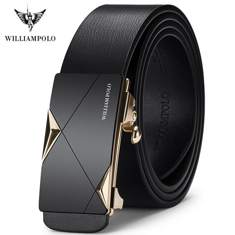 WILLIAMPOLO Fashion Men Leather Belts Solid Buckle With Automatic Ratchet Leather Belt Men's Designer Belt 2019 new