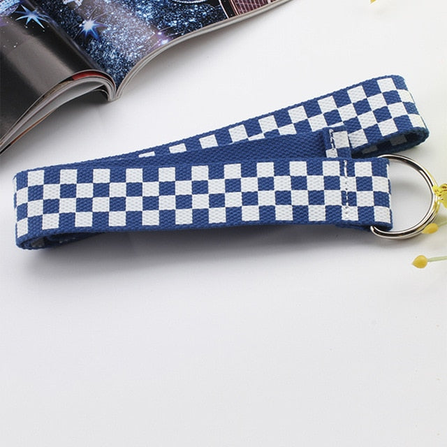 2020 Fashion Punk Checkered Belt Waistband Long Black and White Plaid Checkerboard Couple Checkered Canvas Women New Belts