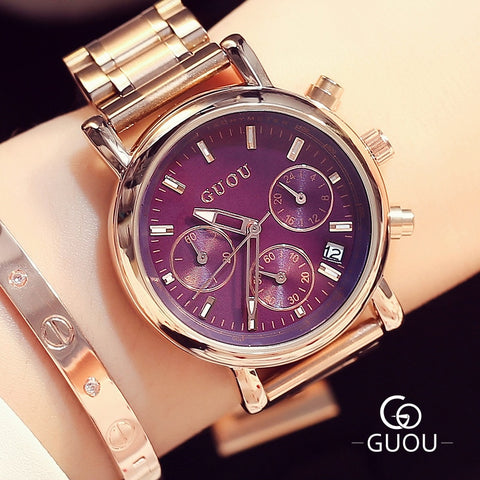 RF ICONIC AAA GUOU Fashion Luxury Full Steel Women Watch Rose Gold Quartz