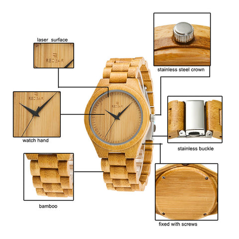 AnAvLiNa Men Bamboo Watches Quartz