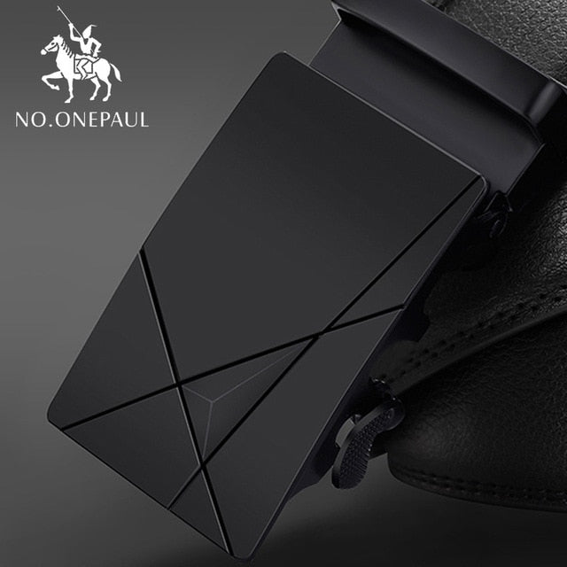 NO.ONEPAUL Fashion High Quality Business Male Men's Belts Belts For Men Genuine Leather Cowskin Black Belt Automatic Buckle