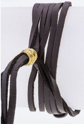 Faux and Fab Leather String Chevron Bracelet