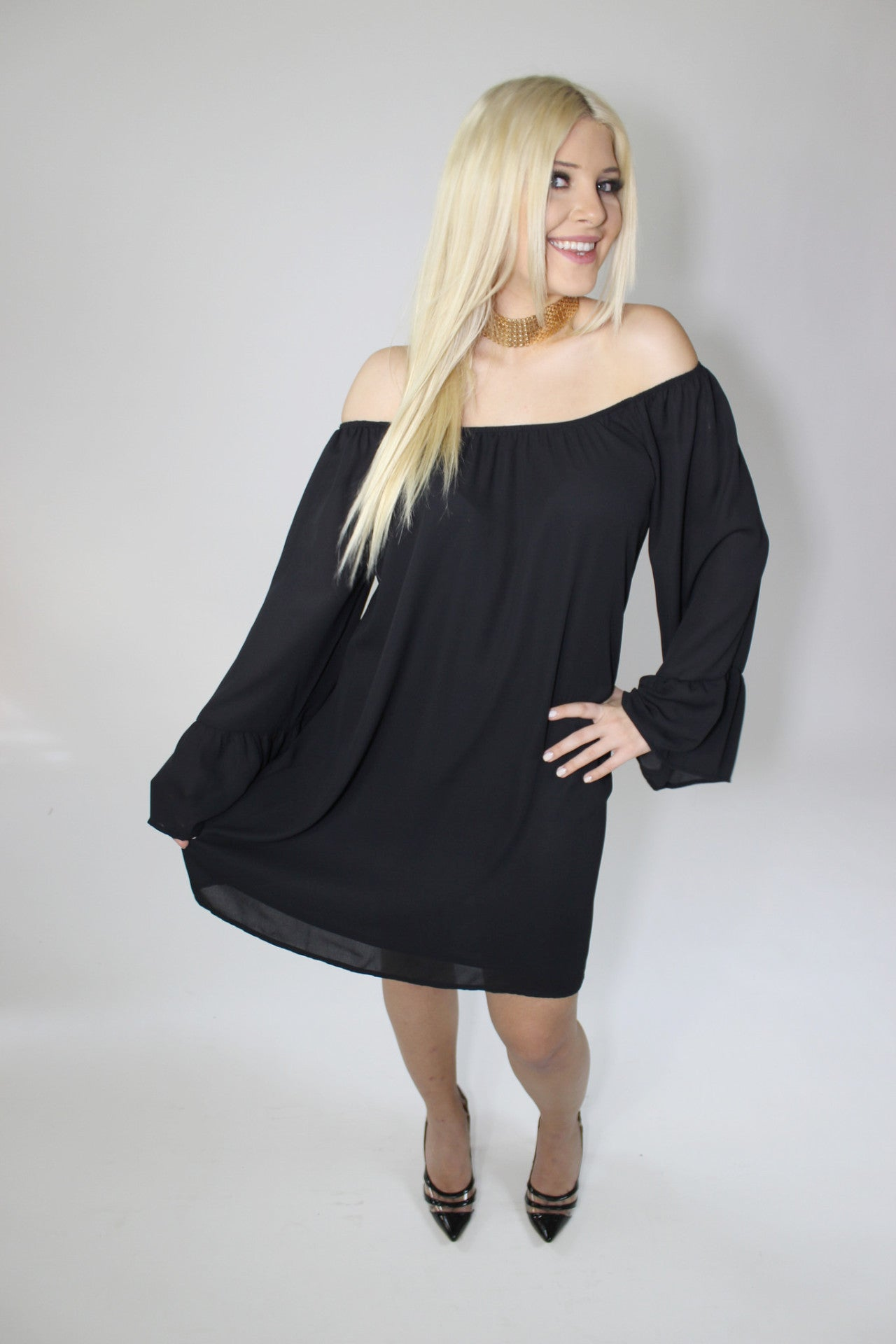 The One Off the Shoulder Shift Dress - Mod Owl