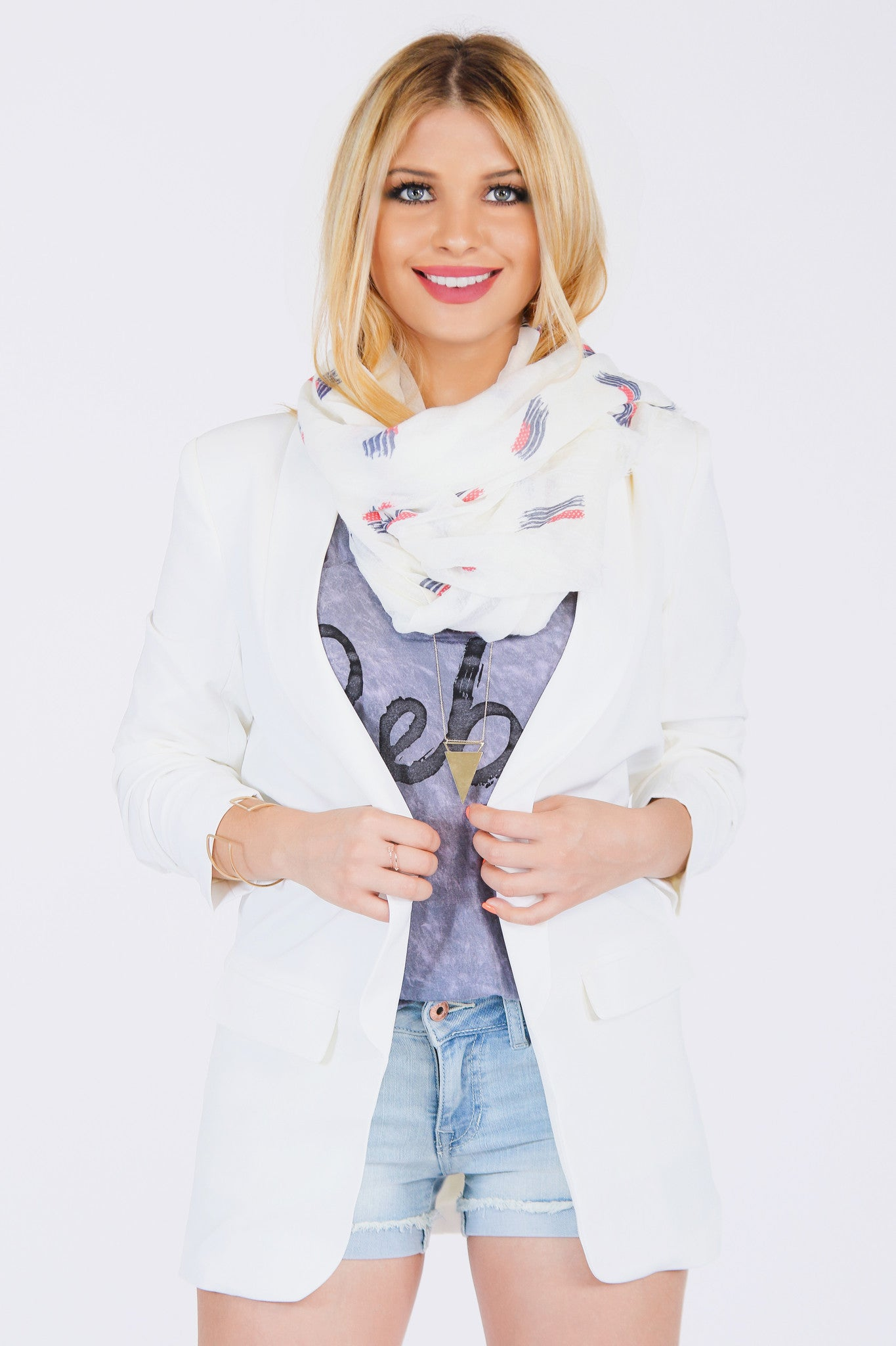 RED WHITE & BEAUT SCARF - Mod Owl