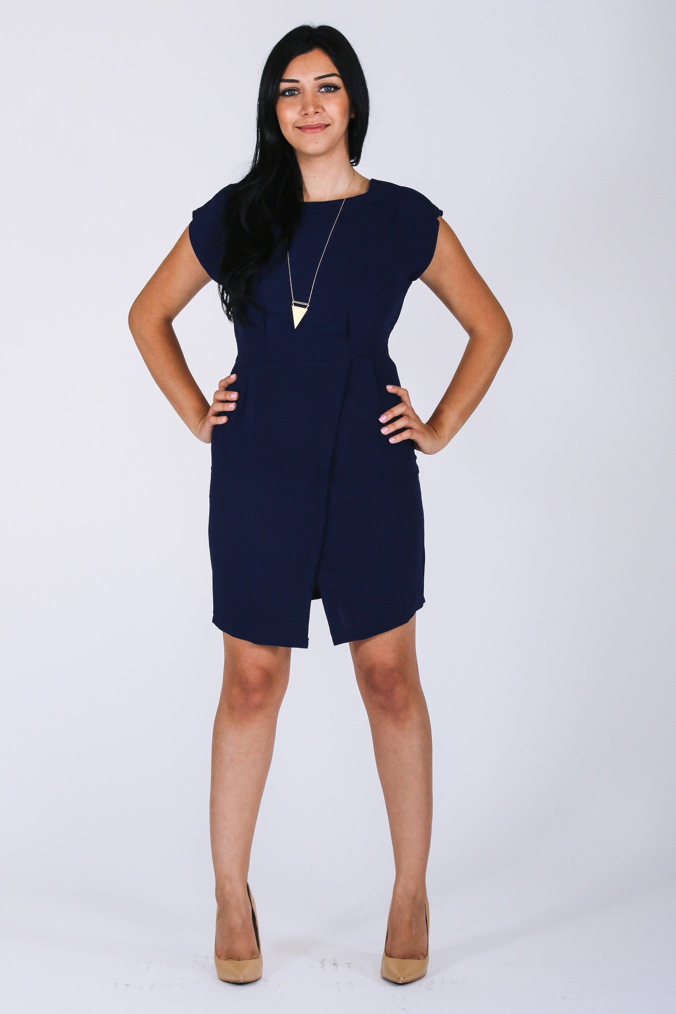 Navy Blue 9 to 5 Dress - Mod Owl