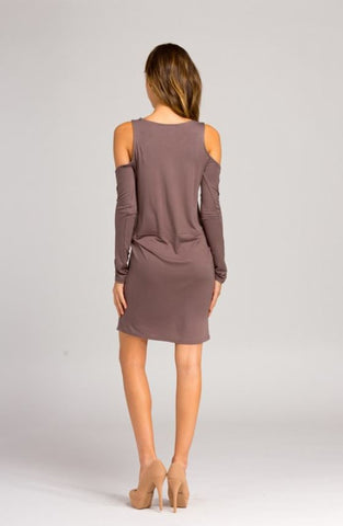 POISED COLD SHOULDER DRESS