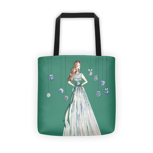 Girl in the Green Dress Fashion Illustration Tote Bag