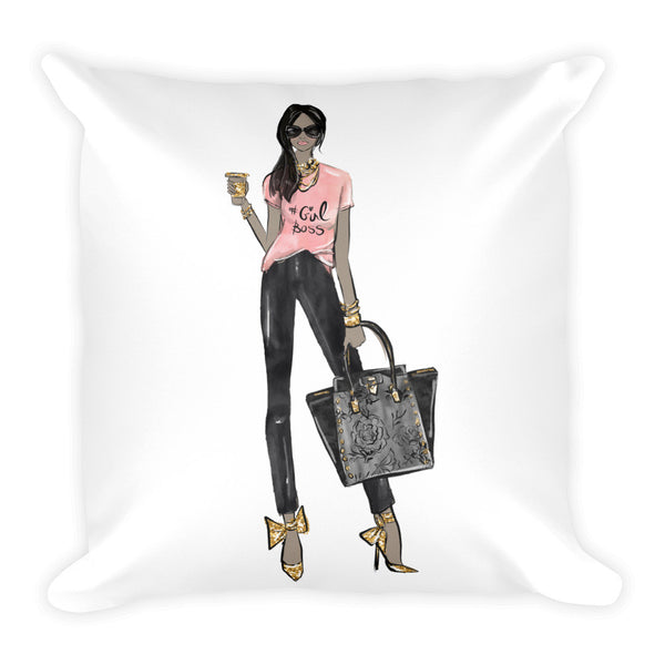 Girl Boss Square Pillow