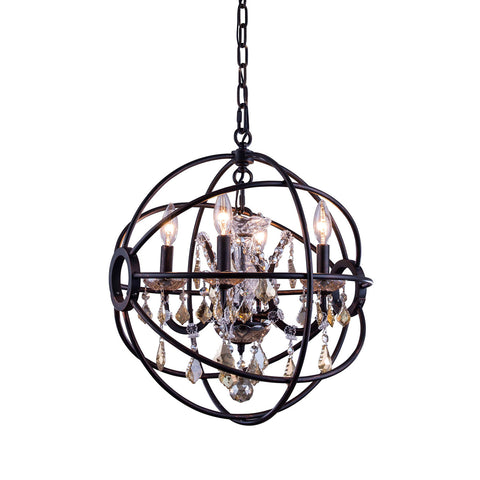 "Elegant Lighting 1130D17DB-GT/RC Geneva Collection Pendent Lamp D:17"" H:19.5"" Dark Bronze Finish (Royal Cut Golden Teak Crystals) - Mega Supply Store"