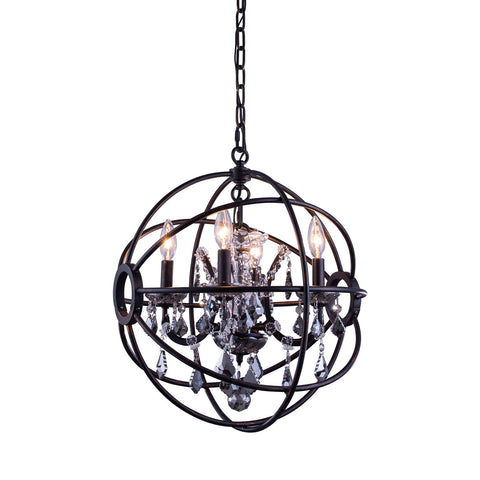 "Elegant Lighting 1130D17DB-SS/RC Geneva Collection Pendent Lamp D:17"" H:19.5"" Dark Bronze Finish (Royal Cut Silver Shade Crystals) - Mega Supply Store"