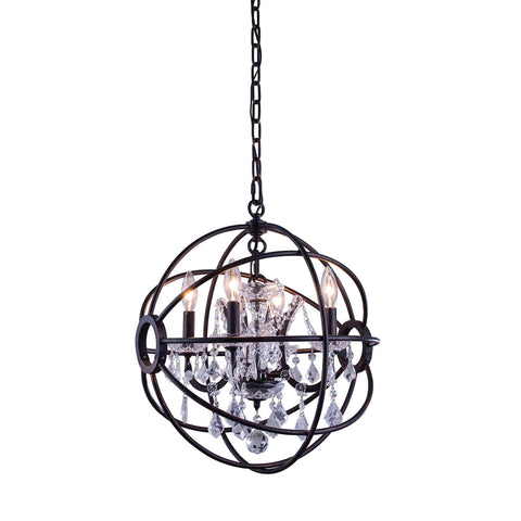 "Elegant Lighting 1130D17DB/RC Geneva Collection Pendent Lamp D:17"" H:19.5"" Dark Bronze Finish (Royal Cut Crystals) - Mega Supply Store"