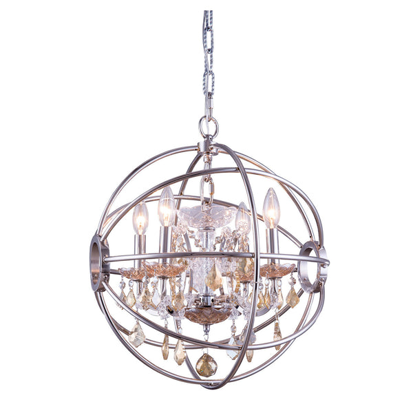 "Elegant Lighting 1130D17PN-GT/RC Geneva Collection Pendent Lamp D:17"" H:19.5"" Polished nickel Finish (Royal Cut Golden Teak Crystals) - Mega Supply Store"