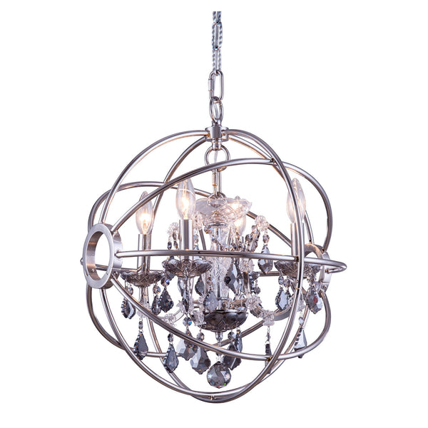 "Elegant Lighting 1130D17PN-SS/RC Geneva Collection Pendent Lamp D:17"" H:19.5"" Polished nickel Finish (Royal Cut Silver Shade Crystals) - Mega Supply Store"