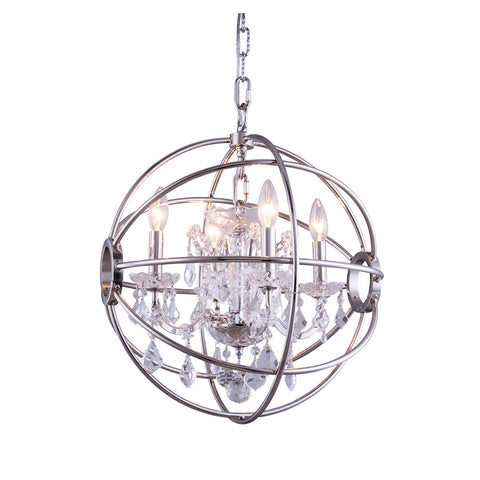 "Elegant Lighting 1130D17PN/RC Geneva Collection Pendent Lamp D:17"" H:19.5"" Polished nickel Finish (Royal Cut Crystals) - Mega Supply Store"