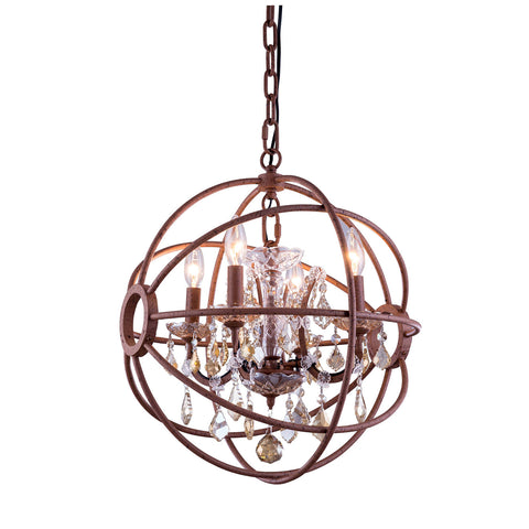 "Elegant Lighting 1130D17RI-GT/RC Geneva Collection Pendent Lamp D:17"" H:19.5"" Rustic Intent Finish (Royal Cut Golden Teak Crystals) - Mega Supply Store"