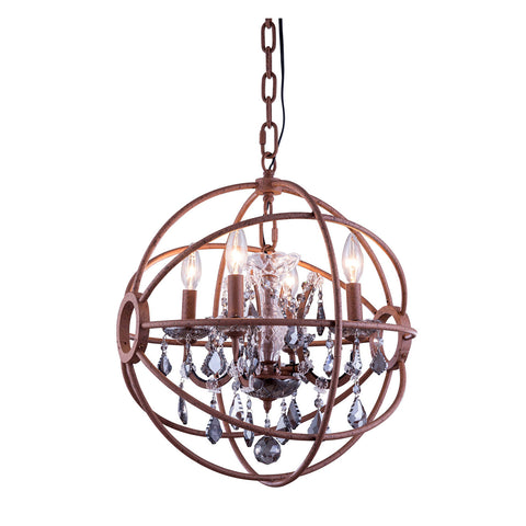 "Elegant Lighting 1130D17RI-SS/RC Geneva Collection Pendent Lamp D:17"" H:19.5"" Rustic Intent Finish (Royal Cut Silver Shade Crystals) - Mega Supply Store"
