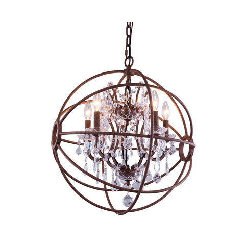 "Elegant Lighting 1130D17RI/RC Geneva Collection Pendent Lamp D:17"" H:19.5"" Rustic Intent Finish (Royal Cut Crystals) - Mega Supply Store"