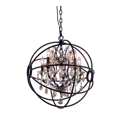 "Elegant Lighting 1130D20DB-GT/RC Geneva Collection Pendent Lamp D:20"" H:23"" Dark Bronze Finish (Royal Cut Golden Teak Crystals) - Mega Supply Store"