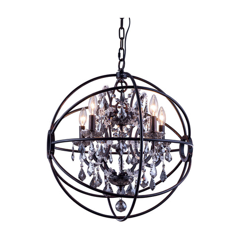 "Elegant Lighting 1130D20DB-SS/RC Geneva Collection Pendent Lamp D:20"" H:23"" Dark Bronze Finish (Royal Cut Silver Shade Crystals) - Mega Supply Store"
