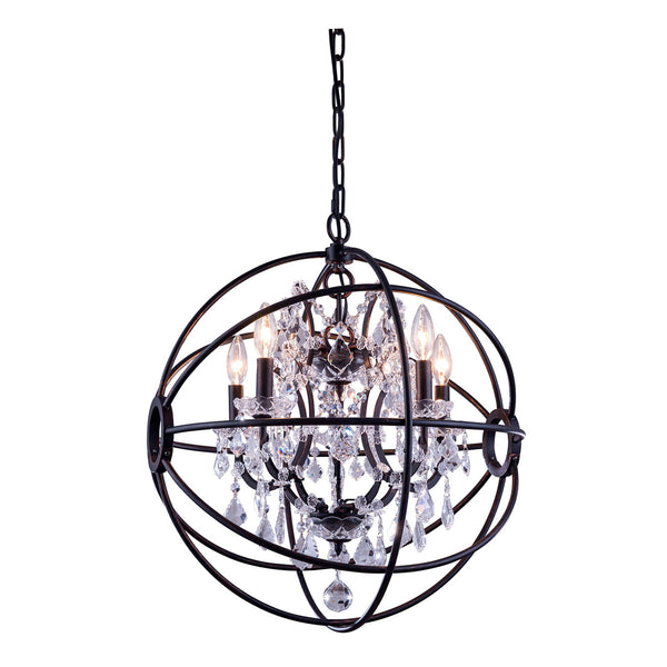 "Elegant Lighting 1130D20DB/RC Geneva Collection Pendent Lamp D:20"" H:23"" Dark Bronze Finish (Royal Cut Crystals) - Mega Supply Store"
